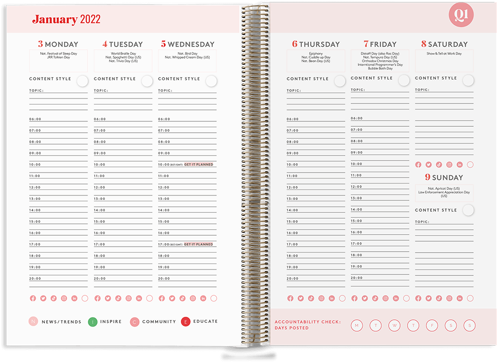 Courageous Content Planner inside weekly view